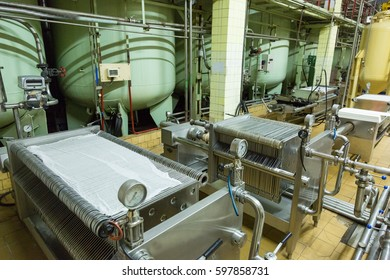 Special industrial equipment in the workshop of a factory for the production of wines and champagne