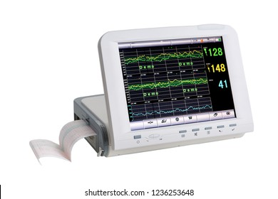 Special medical equipment - Patient electrocardiographic monitoring - medical device isolated on white
