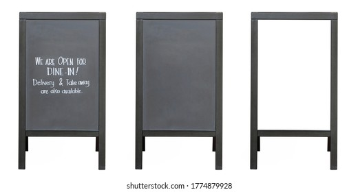 Special menu announcement board.  Blank black and white boards stree stand mockup isolated on white background. Chalkboard for menu restaurant and cafe welcome easel. Pavement menu rack.