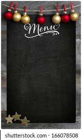 Special Merry Christmas and New Year`s restaurant bistro menu design on vintage wooden blackboard with copy space