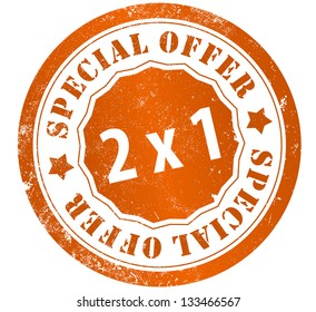 special offer 2x1 grunge stamp, in english language