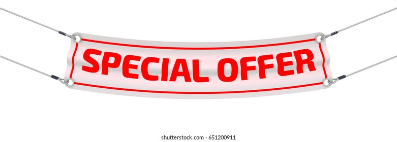 """Special offer. Advertising banner with inscriptions """"SPECIAL OFFER"""". Isolated. 3D Illustration"""