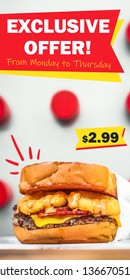Special offer food banner. Promotion design template with burger image and graphic elements. Advertisement for website, flyer, booklet, billboard, poster