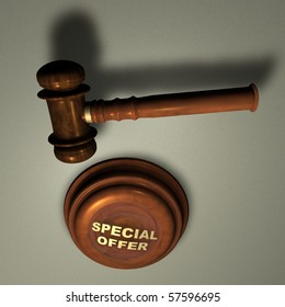 SPECIAL OFFER - Judge's Wooden Gavel, close up over white
