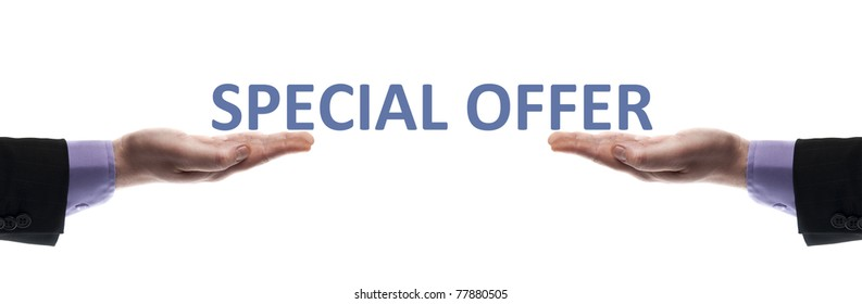 Special offer message in male hands