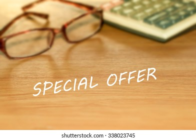SPECIAL OFFER message on the table