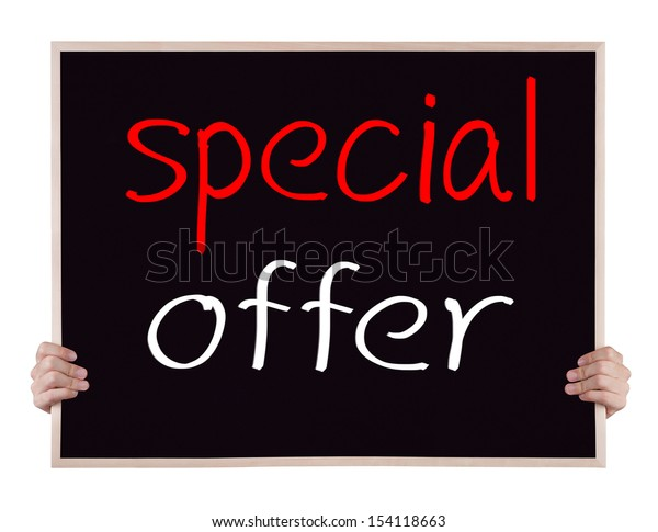 special offer on blackboard with hands