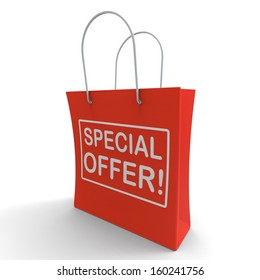 Special Offer Shopping Bag Shows Bargain Or Discount