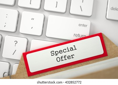 Special Offer written on Red Folder Index Concept on Background of Modern Keyboard. Archive Concept. Closeup View. Blurred Illustration. 3D Rendering.