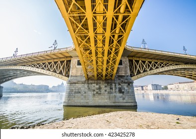 Special perspective view of Margaret Bridge over River Danube, Budapest, Hungary