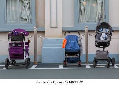 A special place for putting the empty baby stroller at Everland Theme Park, South Korea