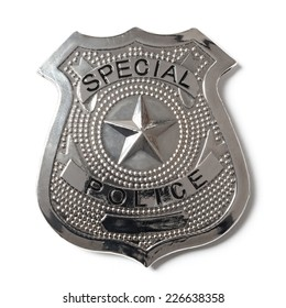 Special police badge with clipping path isolated on white