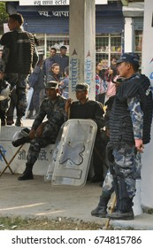 Special police Nepal, Pokhara - March 3, 2017: Special police in the streets of Pokhara