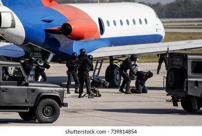 Special police team in action against airplane hijackers