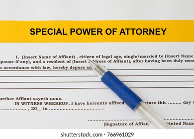 Special power of attorney concept- with pen and document.