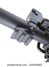 Special rail under the gas block on an assault rifle for optics and lasers