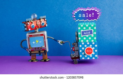 Special sale promotion poster. Comical robot moving shopping cart boxes with discount advertising stickers. Blue purple background
