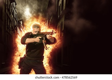 special tactics man with explosion