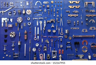 Special tools at wall in auto service garage