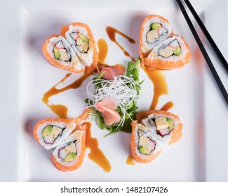 Special Valentine's dinner, Maki - Lovely heart shaped sushi, maki beautifully arranged on a white plate - Happy Valentine's day