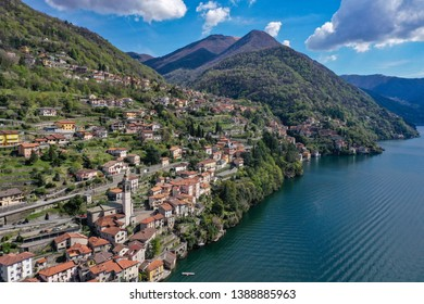 Special view by Drone - Como Lake Spectacular view on lake, italian summer view aerial by Drone