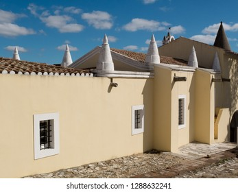 Special white structures on the roofs of Viana Do Alentejo, Evora, Portugal.