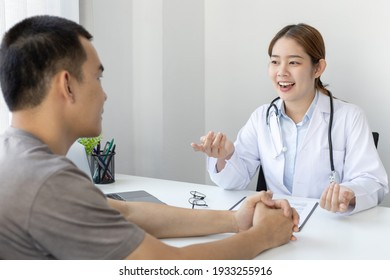 Specialist doctors advise and examine the history of patients in a direct health room at a modern hospital, Annual Health Check and Health Care Report concept.