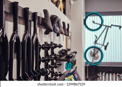 Specialized store of spare parts for BMX bikes. Active lifestyle concept