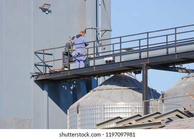 Specially skilled maintenance workers stand on a walkway overlooking grain bins that they are servicing.