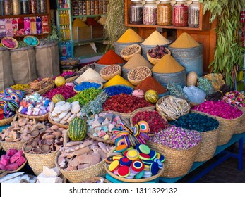 Species, flowers and soaps in street market of Marrakech, Morocco
