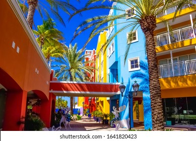 Specific coloured buildings at street of Willemstad, Curacao. Christmas decorations at caribbean island.