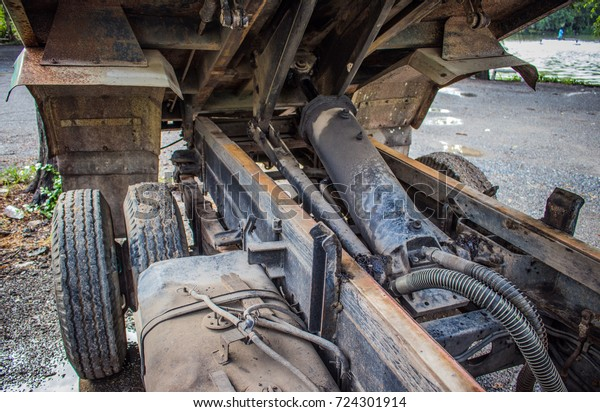 Specific Parts Hydraulic Cylinder Dump Six Stock Photo (Edit