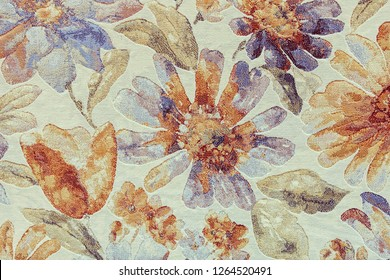 specimen of   colorful carpet for home, note shallow depth of field