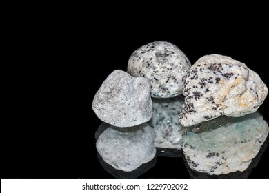 Specimens of rocks: dendrites of manganese oxides, pumice, granite, close-up and reflection.