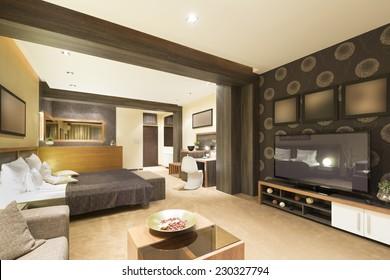 Specious apartment interior with jacuzzi bath