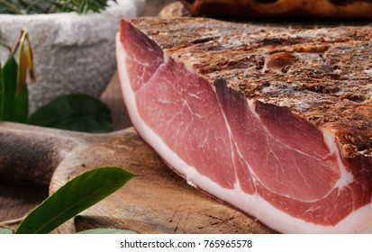 Speck, whole pork cutlet, close-up