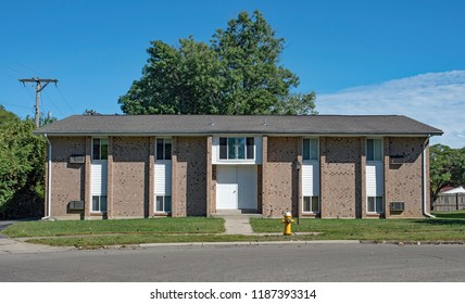 Speckled Brick Low Income Apartment Building