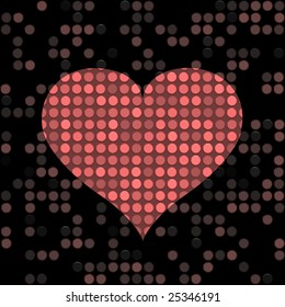 speckled red heart shape on a dark background