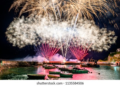 A spectacle of light and colour explodes over Mavagissey as the final crescendo to the 200 year old tradition of a food festival, aptly named Feastival.
