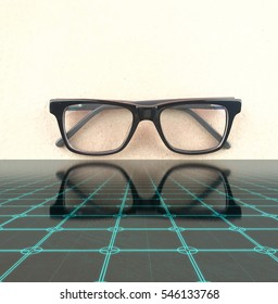 spectacle on digital square reflection