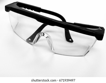 Spectacle Safety glasses for laboratory work, one of Personal Protective Equipment use for safety first, Goggles isolated in white background