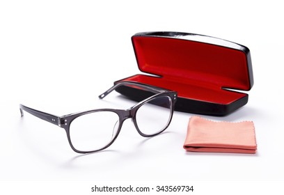 Spectacles with cleaning cloth and Case for glasses