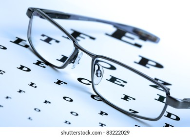 Spectacles resting on a sight test chart blue toned