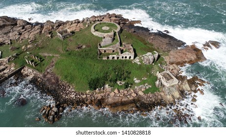 Spectacular aerial view of the fort deactivated on the island of Fortaleza - Santa Catarina