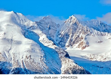 Spectacular aerial view of Kathleen Glacier and surrounding Peaks, British Columbia, Canada
