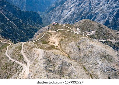 Spectacular aerial view of the lefka mountains, beginning of the Samaria canyon national park, Kalergis refuge, western Creata, Greece, Europe