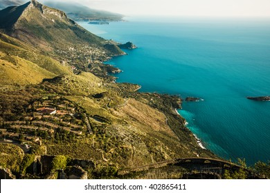 Spectacular aerial view of Maratea. Coast of Basilicata in southern Italy