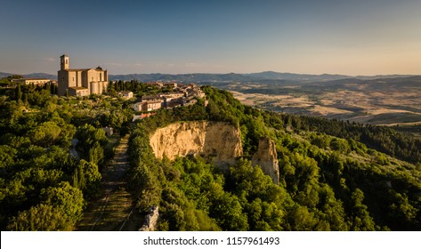 Spectacular aerial view of the old town of Volterra in Tuscany, Italy