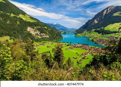 Spectacular alpine valley with Lungernsee lake from Brunig pass,Bernese Oberland,Switzerland,Europe