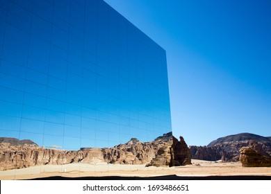 Spectacular and astonish mirrored building in Madain Saleh in Al Ula Saudi Arabia